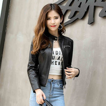 Ptslan New Autumn Winter Women s Genuine Lambskin Leather Denim Style Short Waist Long Sleeve Jackets