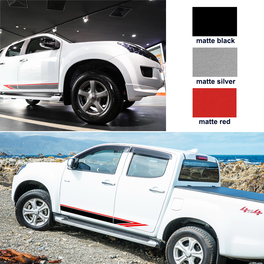free shipping 2 PC racing side door two colors stripe graphic Vinyl car sticker for isuzu dmax 2012 2015 2017 free shipping 2 pc gradient side stripe graphic vinyl sticker for dacia logan pickup sticker