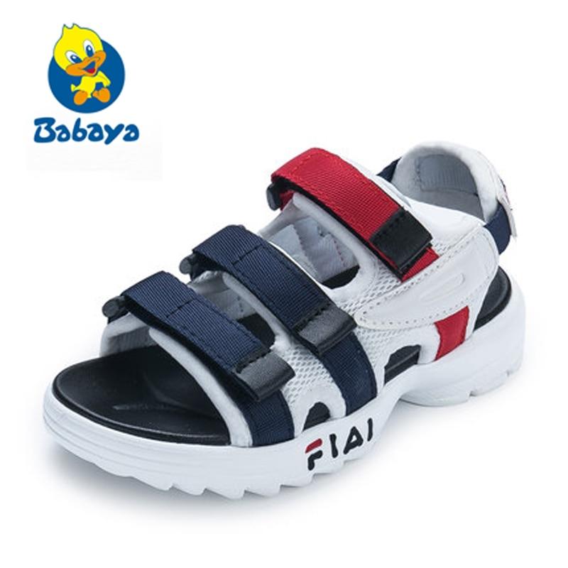 Kinder Jungen Sandalen Sommer Neue Stil Schuhe Mode Ausschnitte Sandalen Kinder Leinwand Regen Sandalen Atmungs Wohnungen Schuhe Größe 26-37