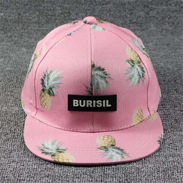 placeholder 2017 Corea mujeres Hip Hop gorra de béisbol fruta piña del  sombrero del sol de los 41ffc284db7