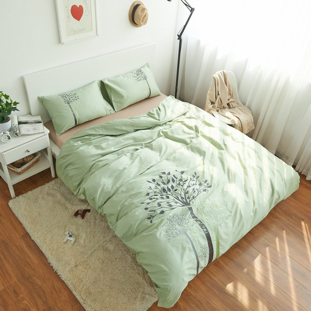 Lovely 100 CottonTree Bedding Set Bed Sheet Light Green Duvet Cover Embroidered  Queen King Comforter Sets Cotton