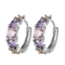 Colorful CZ Zircon Silver Studs Earrings For Women With Stones Austrian Crystal Pendientes Zirconium Wholesale