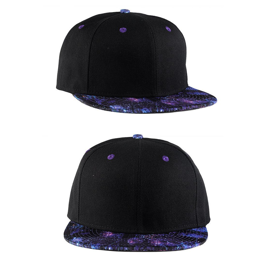 Black With Blue Galaxy Adjustable women Baseball Caps Men's Hip Hop Snapback Flat Bill brim Hats Starry Space Dad Trucker Cap letter embroidery dad hats hip hop baseball caps snapback trucker cap casual summer women men black hat adjustable korean style