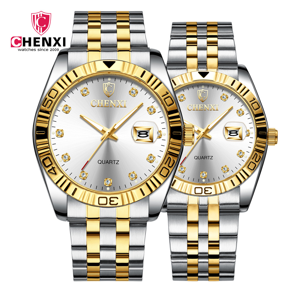 Permalink to CHENXI Brand Luxury Lover's Watches Women&Men Business Dress Watch Sytlish Rhinestone Steel Strap Couple Quartz Clock Waterproof