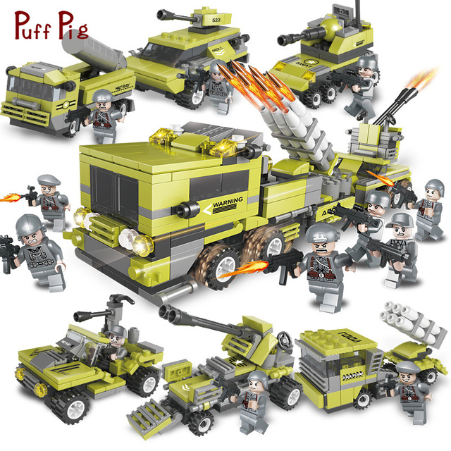 657pcs Military World War Tank Truck Car Deformation Armored Vehicle With Soldier Figures Building Blocks Compatible Legoe Toys