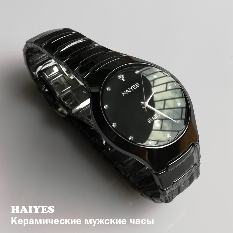 HAIYES Black Ceramic Men Watches Top Brand Luxury Simple Crystal Quartz Watches Men Free Shipping Relogio