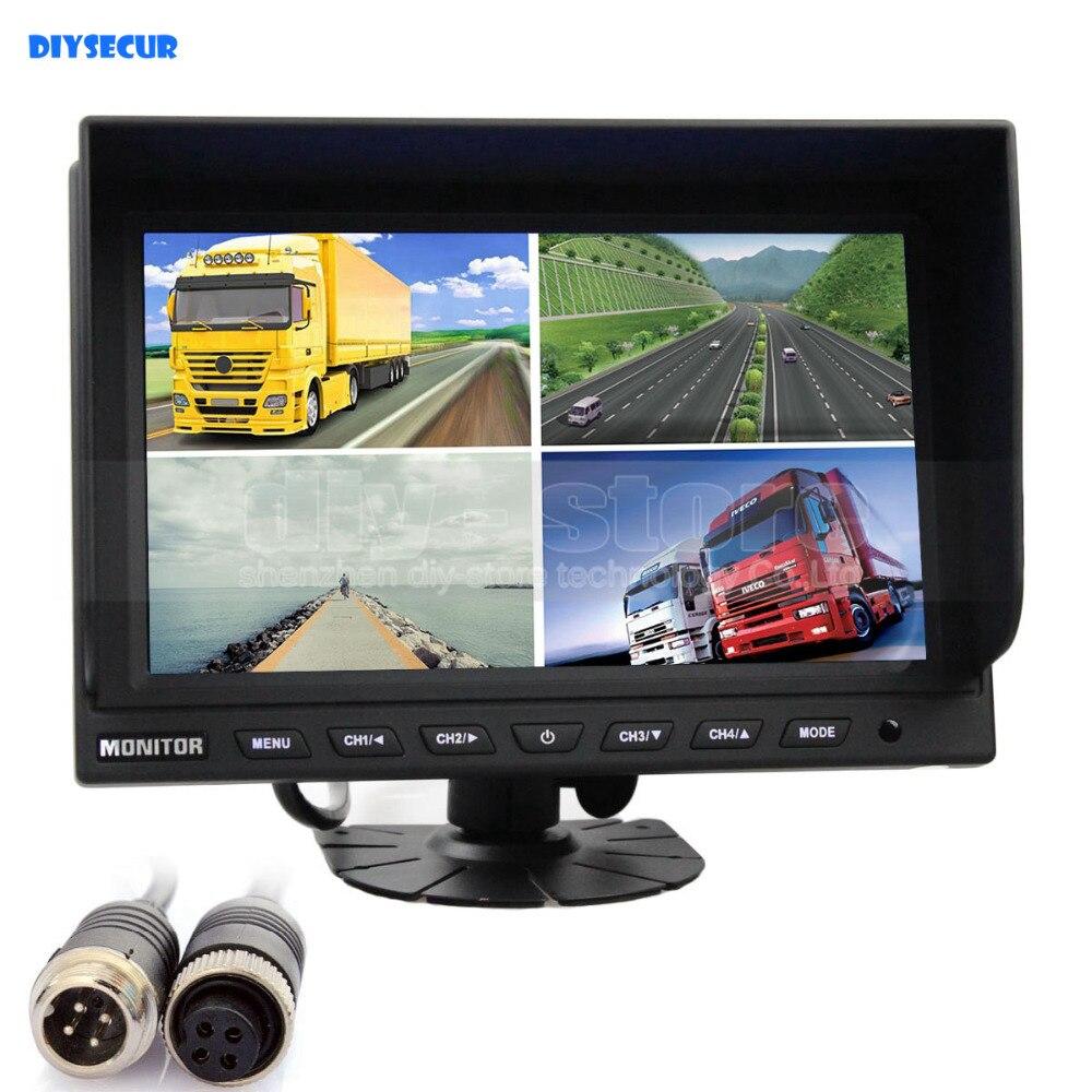 DIYSECUR 4CH 4-PIN 9 Inch 4 Split Quad LCD Screen Display Color Rear View Montior Car Mo ...