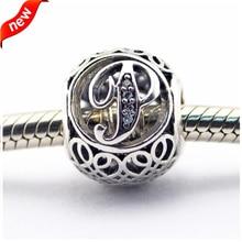 Se adapta a Pandora pulseras Vintage P de plata con Clear CZ 100% 925 plata esterlina encantos de la joyería DIY 08LE015-P