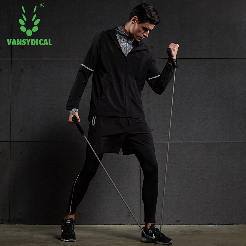 Sport Running Suit Male Training Jogging Suits Long Sleeve Compression T Shirt Jacket Leggings Shorts 5pcs/set 3 piece set men s sports running stretch tights leggings t shirts shorts training pants jogging fitness gym compression suits