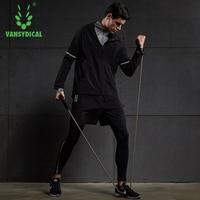 Sport Running Suit Male Training Jogging Suits Long Sleeve Compression T Shirt Jacket Leggings Shorts 5pcs/set