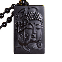 Drop Shipping Black A Obsidian Buddha Pendant Maitreya ShiJiaMuNi Necklace For Women Men Fine Crystal Jewelry все цены