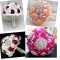 Роскошные бежевый свадебный букет невесты с ручной работы роуз жемчуг и алмазы невесты с цветами в руках высокое качество бесплатная доставка