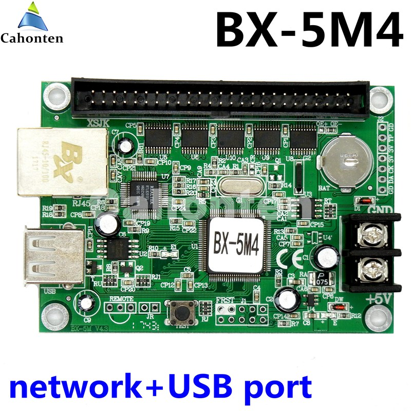 цена на BX-5M4 network RJ45 & USB interface 2048*64 pixel single & tri-color led message sign control card asynchronous controller