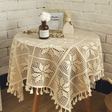 Nordic Style Garden Petal-like Handmade Crochet Lace Vacuum Round Tablecloth Christmas Table Cloth
