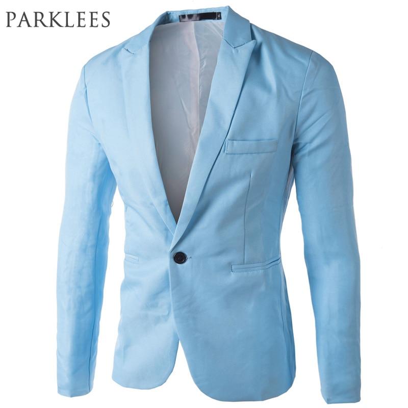 Brand Sky Blue Blazer Men Costume Veste Homme 2017 New Arrival Mens Slim Fit Blazer Jacket Stylish Red Black Pink Suit Men 3XL 1