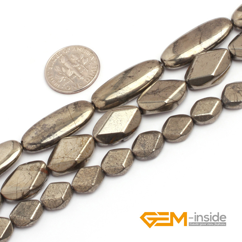 Pyrite: Flat Olivary Oval Silver Gray Pyrite Beads Natural Stone Bead DIY Bead For Jewelry Making Strand 15