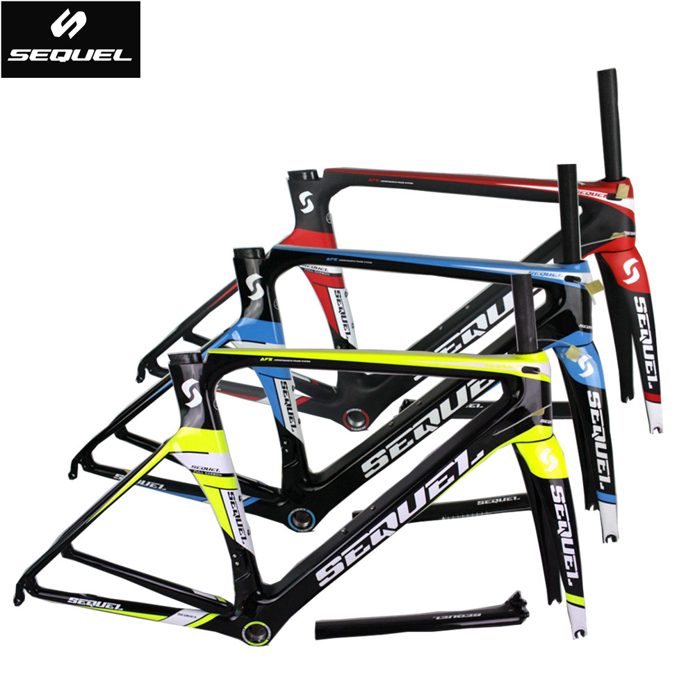 SEQUEL carbon road frame Toray T800 frame+fork+seatpost+clamp+headset carbon bike frame BSA/BB30 bike accessories custom designs carbon matt road bike frameset for bsa 54cm frame fork seatpost clamp