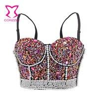 Pink Diamond & Pearl Beads Super Push Up Bra Women Sexy Bralette Bustier Crop Top Brassiere Femme Belly Dance Night Club Wear