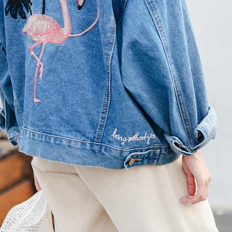 Bird Embroidered Letter Denim Blue Simple Fashion Vintage Casual All Match 2018 Winter New Long Sleeve Female Jackets 4