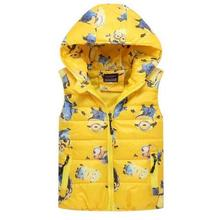 2016 New Minions Baby Boys Vests Kids Hoodies Winter Warm thick Coats Children Lovely Warm vest Outwear Clothes Hot Sale