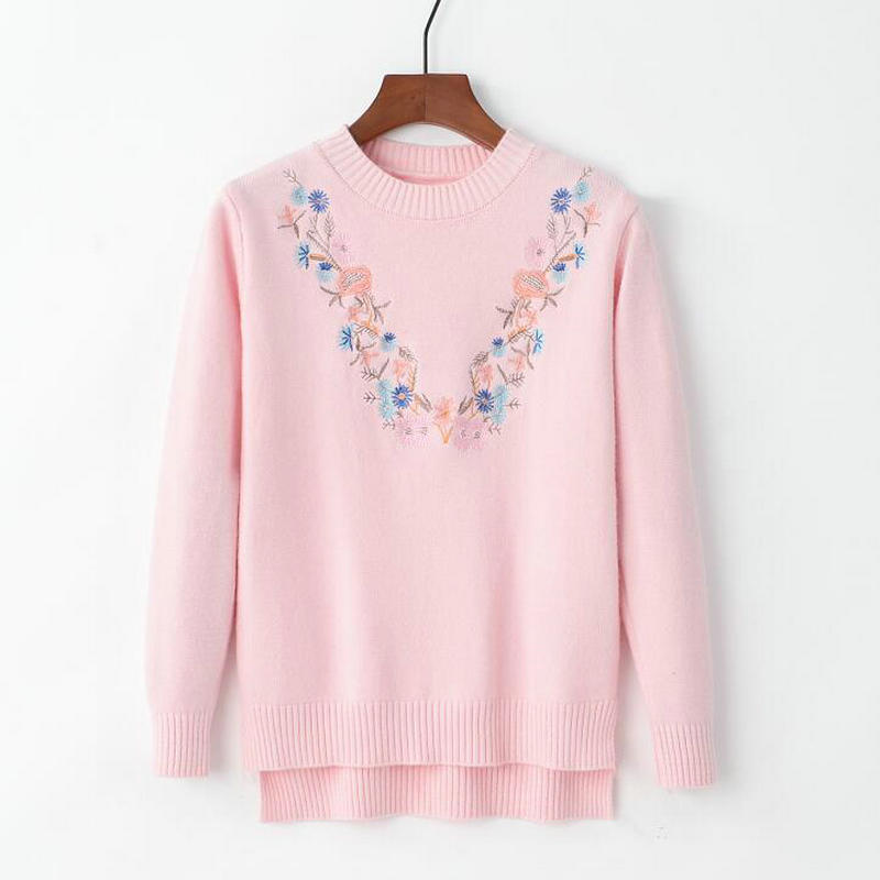 18 Pull Femme Women Floral Embroidery Sweater O-neck Long Sleeves Knit Jumper Jerseys 9 Colors Soft Pullover 4