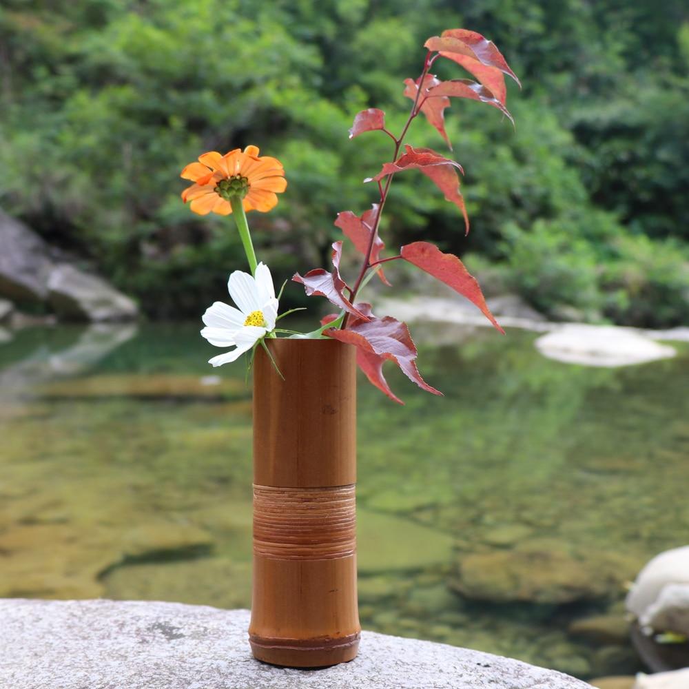 AliExpress & US $8.4 30% OFF|Japanese Bamboo Flower Vase For Home Decoration Handmade Wedding Decoration Vase Gift Flower pots stands Home decor bottles wood-in ...