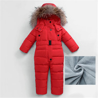 2 4 Year Baby Down Jacket Coat Boys Girls Winter Overalls Baby Rompers Jumpsuit Real Fur Collar Children Outerwear Kids Snowsuit