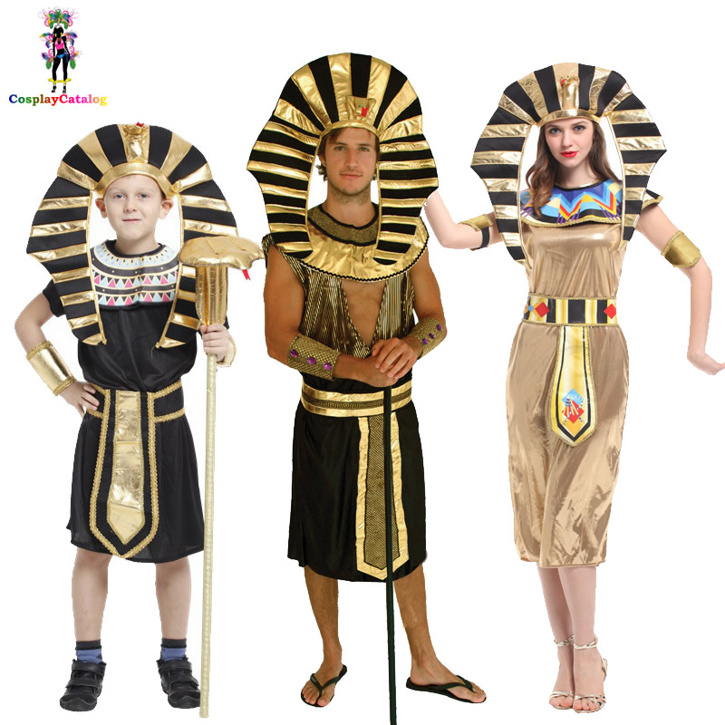 Halloween Family Cosplay Egyptian Pharaoh Fantasies Couples Costume Women Egyptian Queen Golden Cleopatra Costumes Boy Uniforms