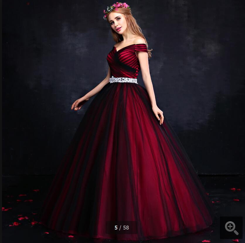 02fb3c2410 2016 latest style fashion red black tulle v neck prom dresses off shoulder  pleated ball gown elegant lace up prom gowns-in Prom Dresses from Weddings  ...