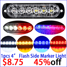 Led Strobe Flash Warning Light Emergency Lamp 12v 24v White Yellow Red Blue Side Maker Signal Lamp Clearance Light Caution Safe 2