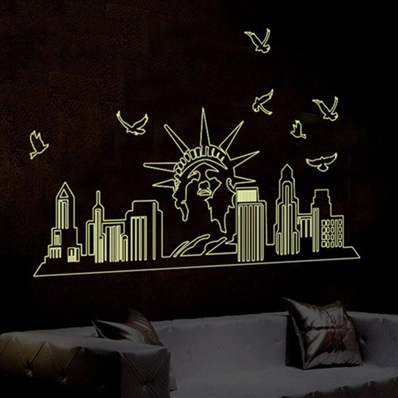3d diy vinyl birds sticker name statue of liberty luminous wall