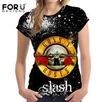 FORUDESIGNS T Shirt 3D Women Top Tees Short Sleeved Fashion Womens Clothing Punk Rock Band Guns