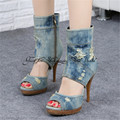 Vintage Peep Toe Women Denim Platform Pumps High Heels Summer Boots Retro Ladies High Top Casual Shoes Woman Gladiator  Sandals