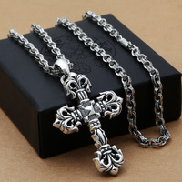 2019 Choker Necklace Asg 925 Sterling Fashion Jewelry, Japan And South Korea Male Money Domineering Vine Cross Pendant Gd With