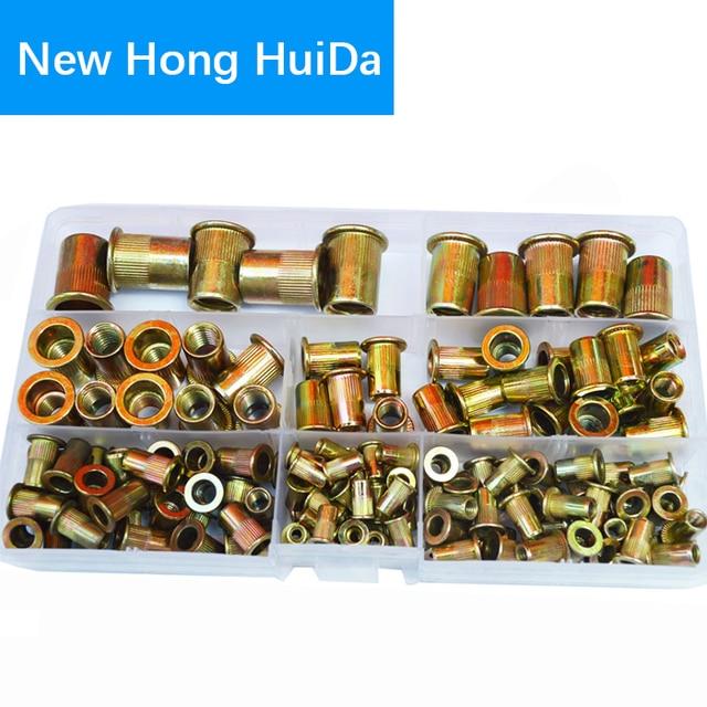 Zinc Plated Rivet Nut Metric Threaded Insert Rivetnut Standard Nutsert M3 M4 M5 M6 M8 M10 M12 Assortment Kit Carbon Steel,150Pcs