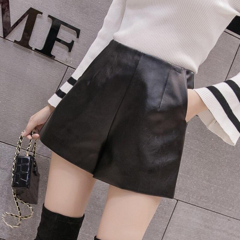 WKOUD Winter Shorts Women Solid Black PU Leather Short High Waist Warm Boots Shorts With Zip Female Casual Wear DD3062