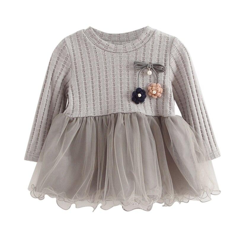 New Autumn Winter Girls Dress Pullover  Ball Lovely Dress Long Sleeve Cotton Outerwears O-neck Kids 1-4YXb