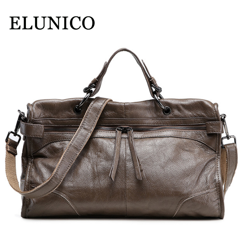 ELUNICO 2018 New Large Capacity Cowhide Tote Bags Handbags Women Famous Brands Genuine Leather Messenger Shoulder Bag Sac A Main bd rt9605b