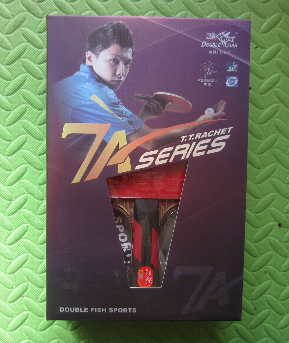 Original finished racket double fish 7a-ec 7stars table tennis rackets wenge wood racquet sports pure wood fast attack with loop la u7aw 7a wood tip