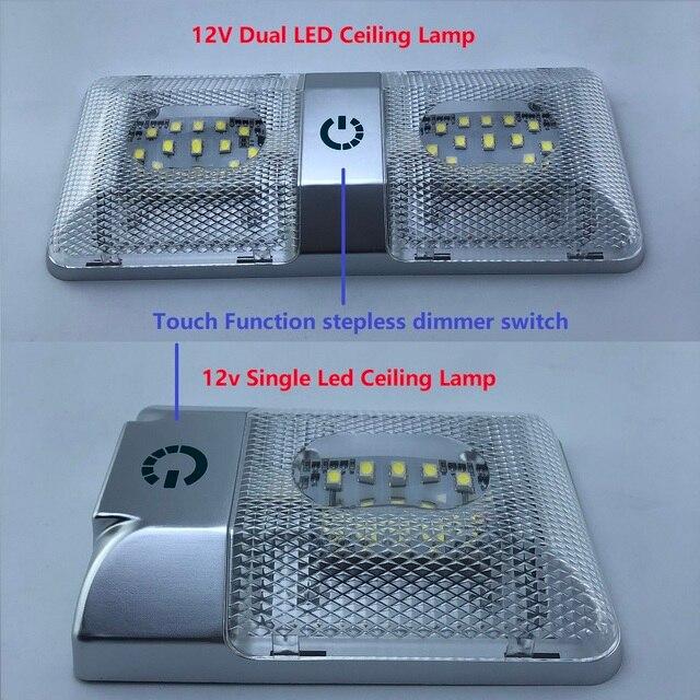 LED Roof Spotlight 12V Rectangular Ceiling Lamp Touch Function Dimmer Switch Interior Down Lighting for Marine/Yacht RV Caravan