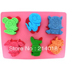 12 Chinese zodiac Tiger snake mouse dragon rabbit dogs shape cake mould Quality assurance of FDA silicone mold NO.SI-075