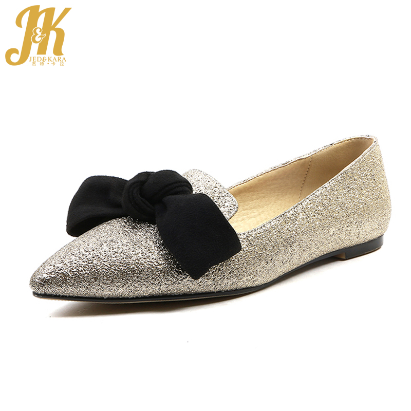JK Big Size Fashion Women Flats Spring Pointed Toe Butterfly Knot Shallow Ladies Shoes Flat Outsole Slip On Female Boat Shoes memunia 2017 fashion flock spring autumn single shoes women flats shoes solid pointed toe college style big size 34 47