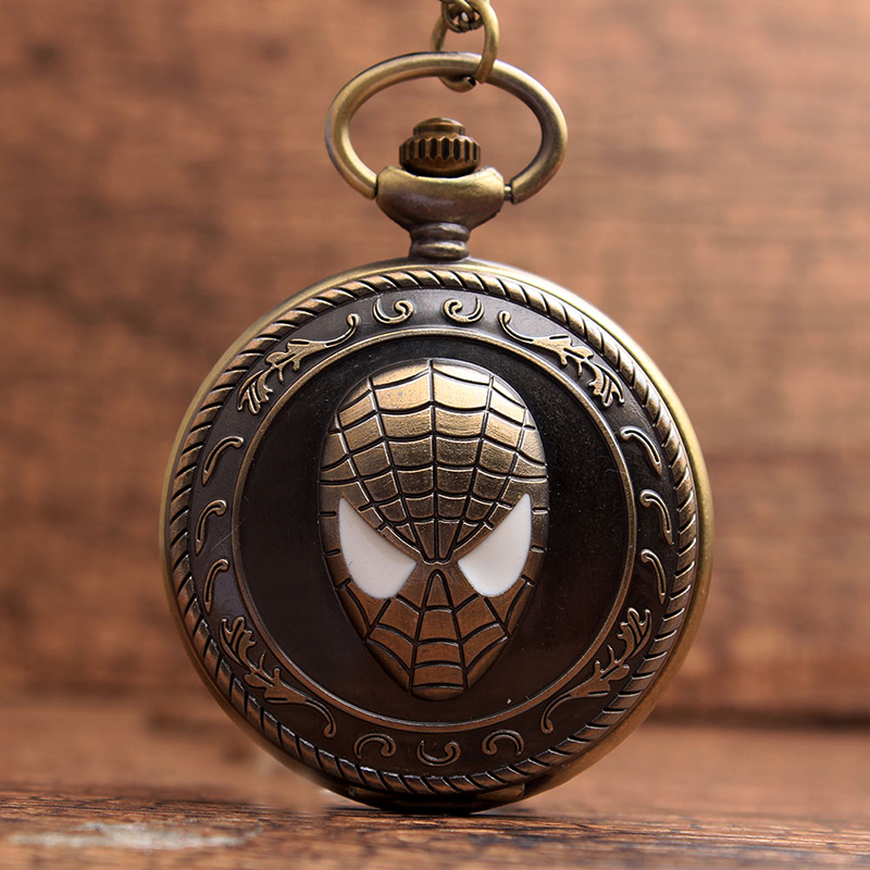 Vintage Spiderman Antique Pocket Watch With Chain Superhero Retro Bronze Flip Quartz Necklace Fob Clock Pendant For Men Women
