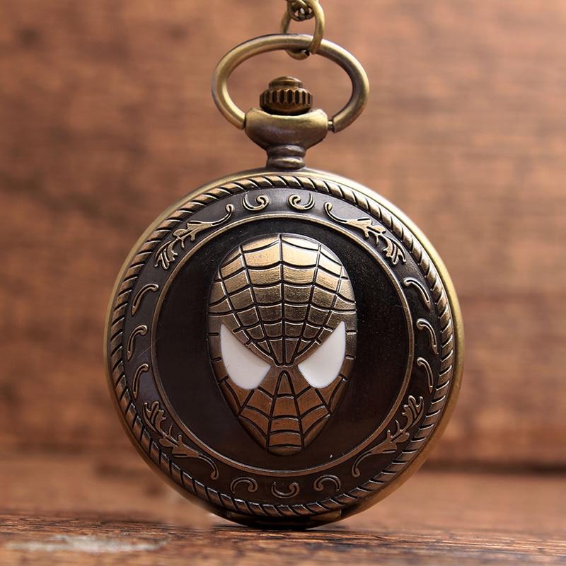 Vintage Spiderman Antique Pocket Watch With Chain Superhero Retro Bronze Flip Quartz Necklace Fob Clock Pendant For Men Women