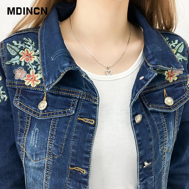 Embroidered denim slim outwear bomber jacket