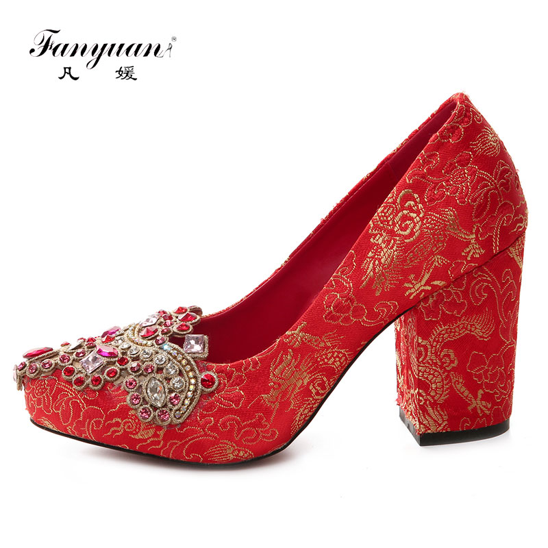 Fanyuan Luxury Designer Rhinestone Party Shoes Women Red