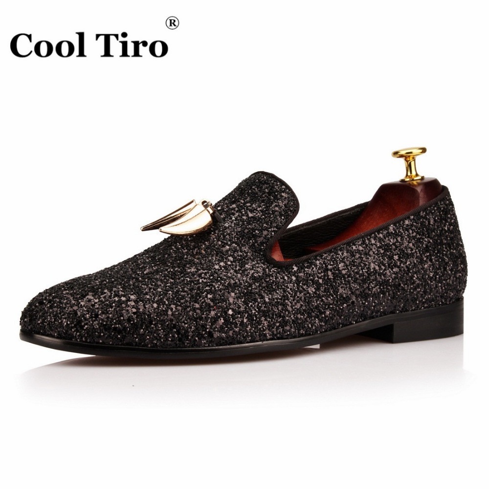 Glistening Glitter Men Loafers Gold Shark Tooth Tassel Slippers Smoking Mens red leather bottom Dress Shoes Flats Genuine Leather outlet perfect buy cheap low price outlet store cheap price buy cheap order outlet ebay vPB3uE