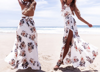 Floral print halter chiffon long dress Women backless maxi dresses vestidos Sexy white split beach summer dress