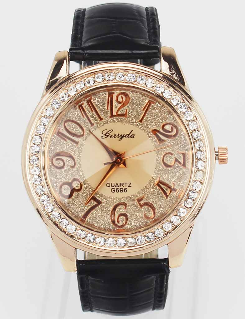 New Fashion Trendy Women Rose Gold Bling Dial Crystal Black White Pink Brown Leather Band Quartz