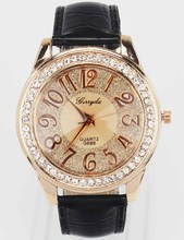 New Fashion Trendy Women Rose Gold Bling Dial Crystal Black White Pink Brown Leather Band Quartz Wrist Watch
